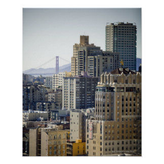Pacific Heights and Golden Gate Bridge Poster