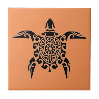Pacific Island design tattoo style Turtle Tile