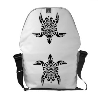 Pacific Island design tattoo Turtle Messenger Bag