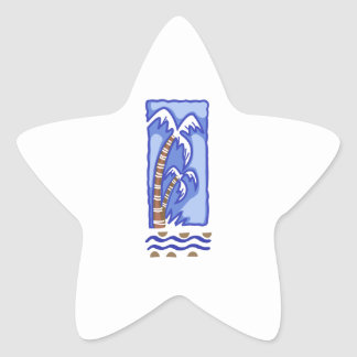 PACIFIC ISLAND PALM TREE STAR STICKERS