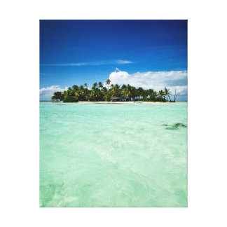 Pacific island with palm trees gallery wrapped canvas