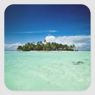 Pacific island with palm trees sticker