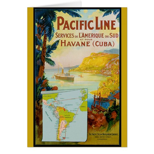 Pacific Line Vintage Travel Greeting Card