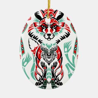 Pacific North Coastal Native American Indian Fox Ceramic Oval Decoration