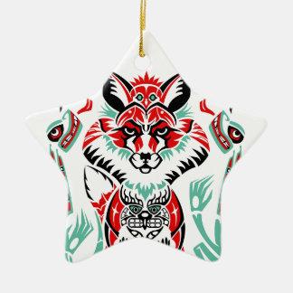 Pacific North Coastal Native American Indian Fox Ceramic Star Decoration