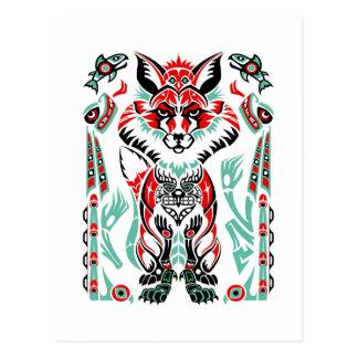 Pacific North Coastal Native American Indian Fox Postcard