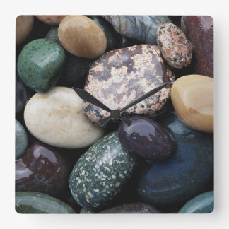 Pacific Northwest USA, Colorful river rocks Wall Clocks