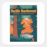 Pacific Northwest Vintage Square Stickers