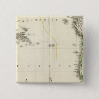 Pacific Ocean Atlas Map 15 Cm Square Badge