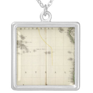 Pacific Ocean Atlas Map Silver Plated Necklace