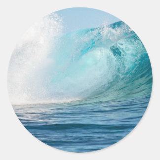 Pacific ocean big wave breaking round sticker
