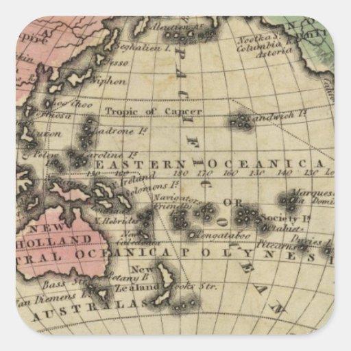 Pacific Ocean, British Islands Square Sticker