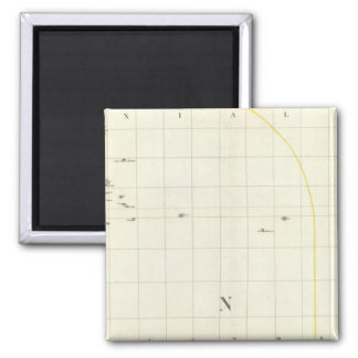 Pacific Ocean Engraved Map Square Magnet