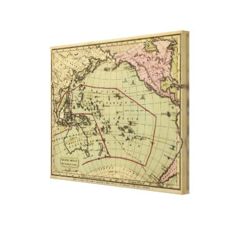 Pacific Ocean Hand Colored Atlas Map Canvas Print