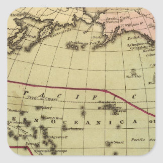 Pacific Ocean Hand Colored Atlas Map Square Sticker