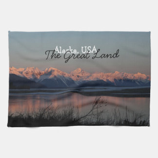Pacific Sunset; Alaska Souvenir Tea Towel