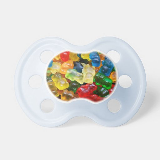 pacifier, gummy bears