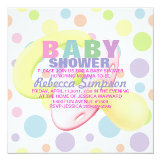 Pacifier & Polka Dots Baby Shower Invitation