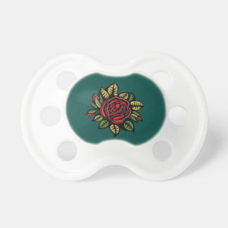 Pacifier   turquoise red roses