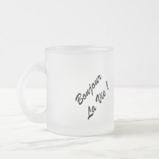 "Pack frosted flower ""Hello the life! "" Frosted Glass Mug"