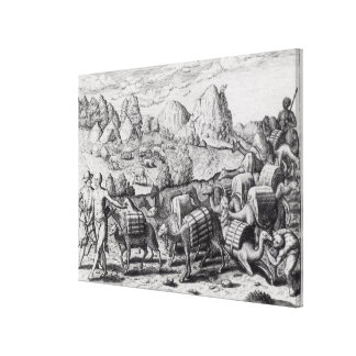 Pack Train of Llamas Laden with Silver Canvas Print