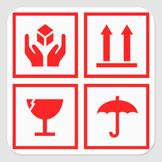 Package Handling Symbol Red Square Stickers