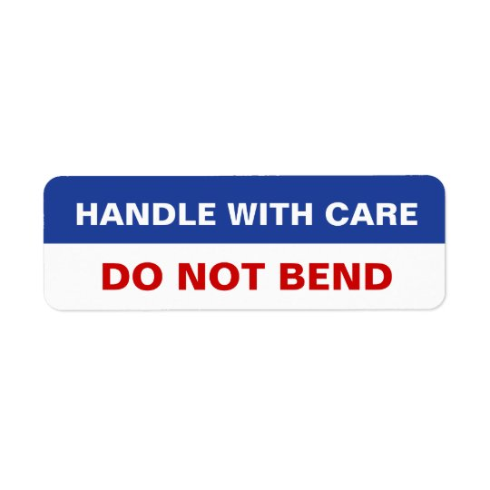 Package sticker Handle with Care Do Not Bend Return Address Label