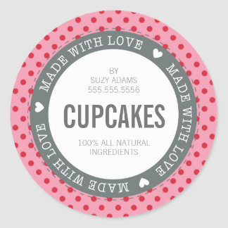 PACKAGING PRODUCT LABEL made with love pink red Round Sticker