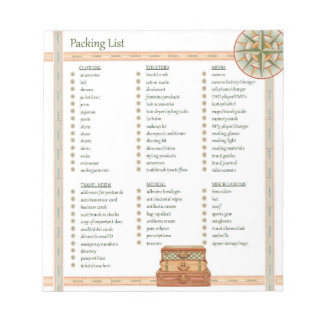 Packing List Note Pads
