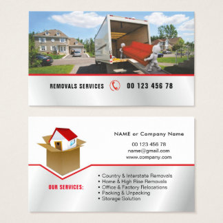 Packing & unpacking service, removals service business card