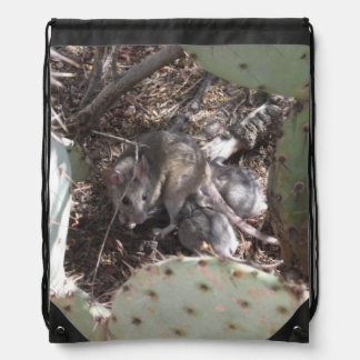 Packrat Mother with Babies Drawstring Backpack