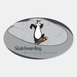 PacNW skate bear (sticker) Oval Sticker