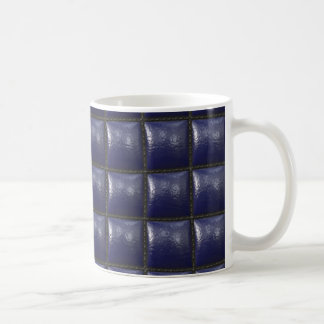Padded Cell Walls Texture. Blue Leather Pattern Mug