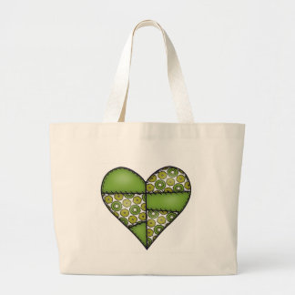 Padded Quilted Stitched Heart Green-09 Large Tote Bag