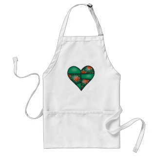 Padded Quilted Stitched Heart Green-10 Standard Apron
