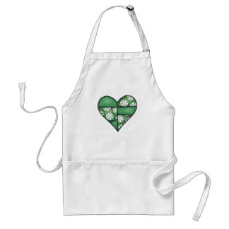 Padded Quilted Stitched Heart  Green Standard Apron