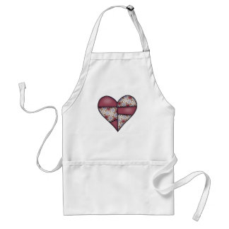 Padded Quilted Stitched Heart Maroon-01 Standard Apron
