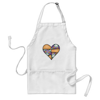 Padded Quilted Stitched Heart Orange-04 Adult Apron