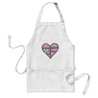 Padded Quilted Stitched Heart Pink-04 Adult Apron