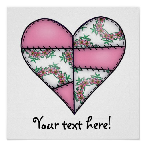Padded Quilted Stitched Heart Pink-07 Poster