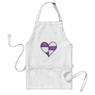 Padded Quilted Stitched Heart Purple-03 Adult Apron
