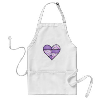 Padded Quilted Stitched Heart Purple-04 Standard Apron