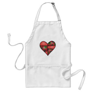 Padded Quilted Stitched Heart Red-05 Standard Apron