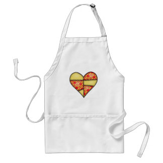 Padded Quilted Stitched Heart Yellow-03 Aprons