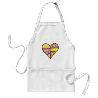 Padded Quilted Stitched Heart Yellow-04 Aprons
