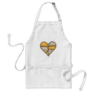 Padded Quilted Stitched Heart Yellow-06 Apron