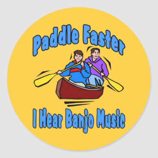 Paddle Faster Banjo Music Classic Round Sticker