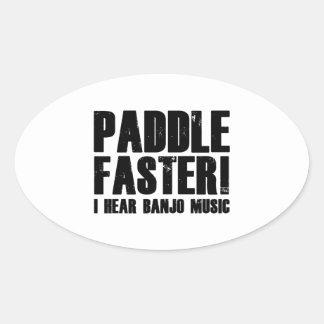 Paddle Faster I Hear Banjo Music Oval Sticker