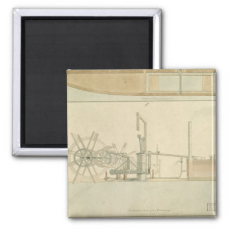 Paddle-wheel, perspective view of machinery drawn refrigerator magnets