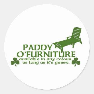 Paddy O Furniture - Funny Irish Design -St Patrick Round Sticker